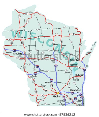 Wisconsin On A Us Map.Wisconsin State Road Map Interstates Us Stock Vector Royalty Free