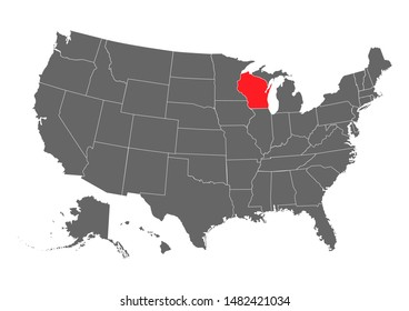 Wisconsin State vector map high detailed silhouette isolated on white background