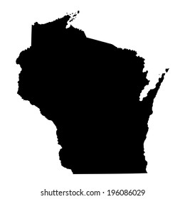 Wisconsin  State vector map silhouette isolated on white background. High detailed  illustration. United state of America country.