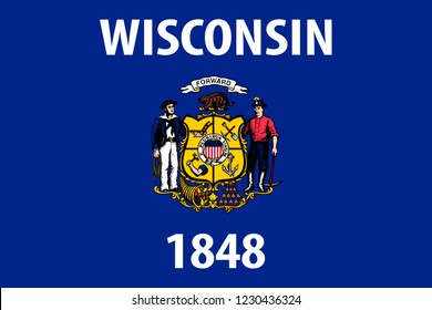 Wisconsin vector flag. Vector illustration. United States of America.