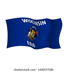 Wisconsin vector flag. Vector illustration of waving flag of Wisconsin state. United States of America.