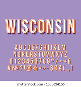 Wisconsin vintage 3d vector lettering. Retro bold font, typeface. Pop art stylized text. Old school style letters numbers, symbols pack. 90s, 80s poster typography design. Lavender color background