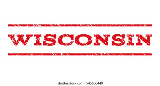 Wisconsin watermark stamp. Text caption between horizontal parallel lines with grunge design style. Rubber seal stamp with dust texture. Vector intensive red color ink imprint on a white background.