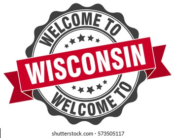 Wisconsin. Welcome to Wisconsin stamp