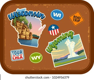 Wisconsin, Wyoming travel stickers with scenic attractions and retro text on vintage suitcase background