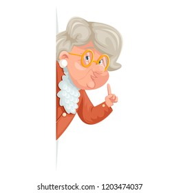 Wise advice look out corner grandmother talking old woman granny character icon adult cartoon design vector illustration