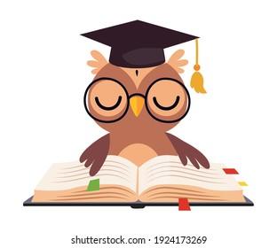 Wise Brown Owl in Graduation Cap, Cute Bird Cartoon Character Reading Book Vector Illustration