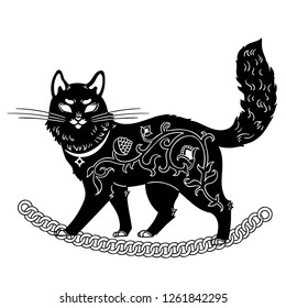 Wise Cat walking on chaine from Russian folk tale. Black cat for Halloween. Vector illustration.
