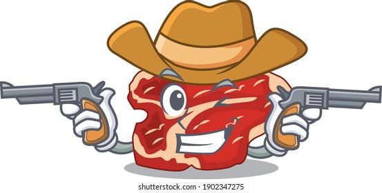 A wise cowboy of T-bone Cartoon design with guns. Vector illustration