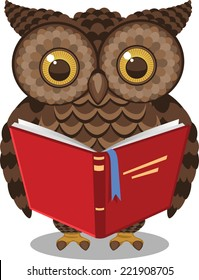 Wise Intelligent Standing Owl Reading a book vector illustration.