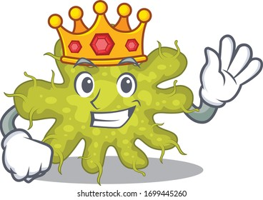 A Wise King of bacterium mascot design style