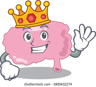 A Wise King of brain mascot design style with gold crown