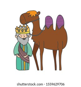 wise king and camel manger nativity, merry christmas vector illustration