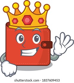 A Wise King of card wallet mascot design style with gold crown