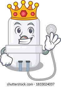 A Wise King of electric water heater mascot design style with gold crown