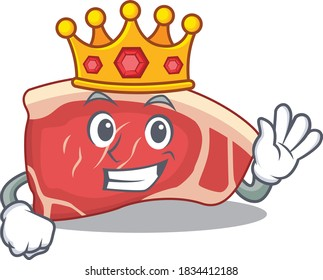 A Wise King of sirloin mascot design style with gold crown