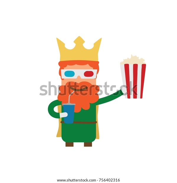 Wise Man Popcorn Drink Vector Illustration Stock Vector Royalty