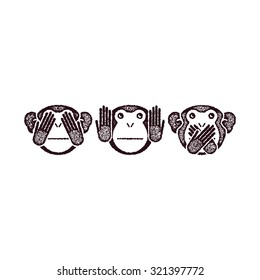 Wise monkeys. Grunge style. Vector illustration.