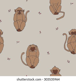 Wise monkeys seamless pattern: hear, see, say and do no evil.