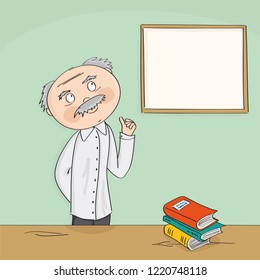 Wise old academic professor teaching in front of the white board. College class or university teacher standing behind the desk in the classroom. Copy space for your text.