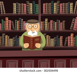 A wise old librarian is reading a book in a historical library. Funny simple vector illustration.