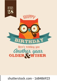 wise as owl birthday greeting template vector/illustration