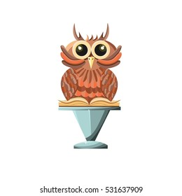Wise Owl With Book On A Stone Pedestal Game Style