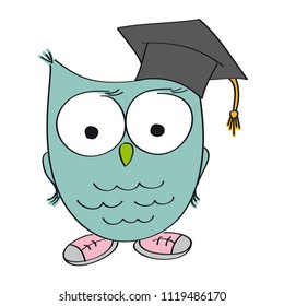 Wise owl with graduation cap on the head. The bird is wearing shoes. Original funny hand drawn illustration.