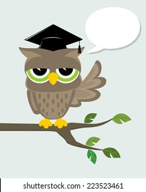 wise owl with mortarboard sitting on a branch and text balloon