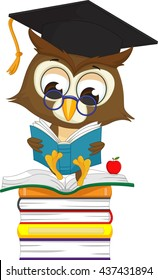 wise owl reading a book while sitting on a pile of books