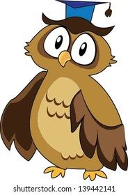 Wise Owl. Vector Illustration of owl wearing a square academic cap on a white background.