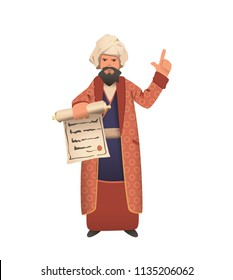 Wise vizier in white turban showing scroll and giving speech. Fairy tale character. Flat vector illustration. Isolated on white background.