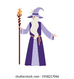 Wise wizard with beard hold magic staff with fire. Old magician man in hat and blue robe, fairy tale character. Flat cartoon vector illustration isolated on a white background.