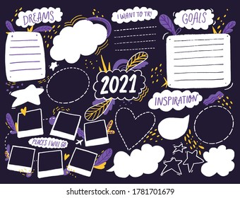 Wish board template with place for goals, dreams list, travel plans and inspiration. Vision collage for teens, nursery poster design. Journal page for planning, new year resolutions in 2021