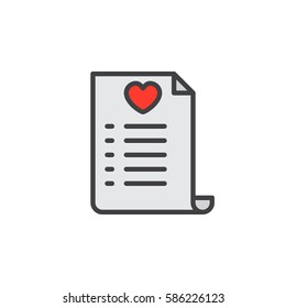Wish list line icon, filled outline vector sign, linear colorful pictogram isolated on white. Symbol, logo illustration