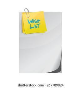 wish list paper and memo post sign concept illustration design over white