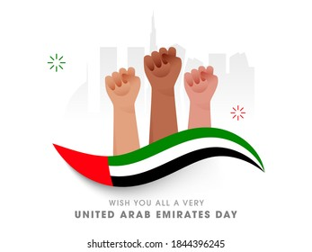 Wish You All A Very United Arab Emirates Day Text With National Flag Color Wave, Human Hands And Silhouette Famous Architecture Or Monuments On White Background. - Shutterstock ID 1844396245