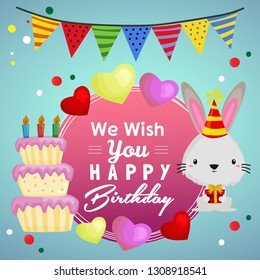 wish you happy birthday with party cake and rabbit
