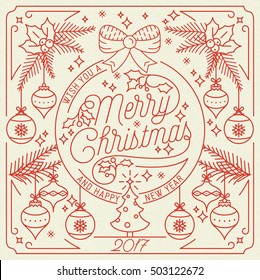 I Wish You A Merry Christmas And Happy New Year Vintage  Background With Typography