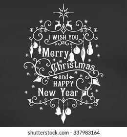 I wish you a Merry Christmas lettering on chalkboard background. Congratulations card. Vector illustration