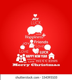 wishes for christmas; tree with social media icons