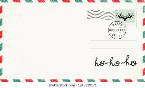 Wishing Christmas Card. Letter to Santa. Ho ho ho