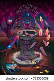 The wishing well in a magic garden. Vector cartoon fantasy illustration