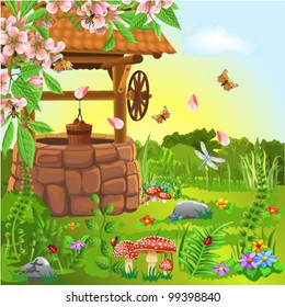 wishing well in the spring