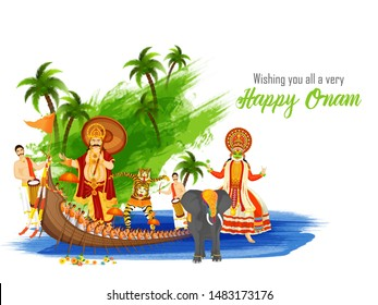 Wishing you all a very festival message card  or poster design with illustration showing culture and tradition of Kerala for Happy Onam celebration.