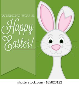 """""""Wishing you a Happy Easter"""" retro style bunny card in vector format."""