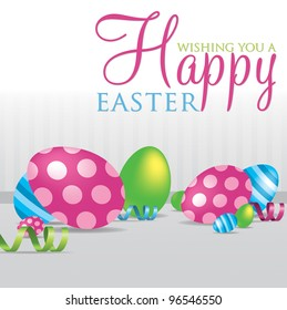 """""""Wishing you a Happy Easter"""" scattered egg cards in vector format."""