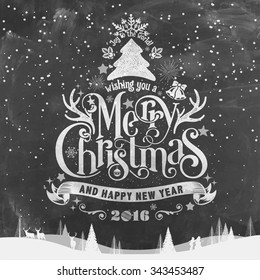 Wishing You A Merry Christmas And Happy New Year Typographical Background On Chalkboard