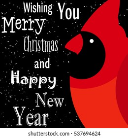 Wishing you Merry Christmas and Happy New Year card. Red cardinal on black background with snow. Flat design. Vector