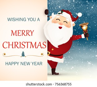 Wishing you a Merry Christmas. Happy new year. smiling Santa Claus with big signboard. Merry Santa Clause with gold, shiny jingle bell, falling snow, snowflakes.  vector cartoon illustration.